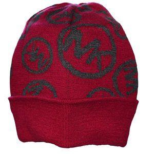 NWT Michael Kors Red Gray Logo Acrylic Knit Hat OS
